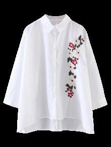 Chemisier à Coupe Haut Bas Avec Broderie Florale - Blanc S