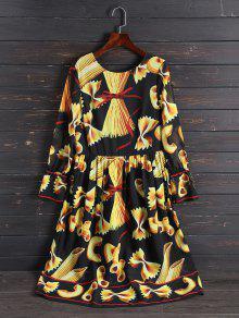Print Long Sleeve Vintage Dress - L