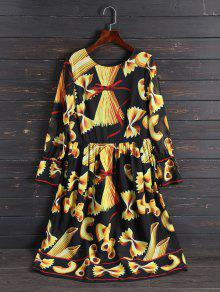 Print Long Sleeve Vintage Dress - Xl