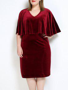 المخملية زائد حجم الرأس اللباس - نبيذ أحمر 4xl