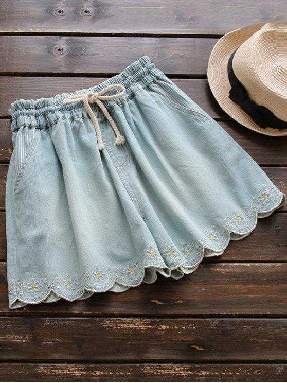 trendy Elasticated Embroidered Denim Shorts - LIGHT BLUE ONE SIZE