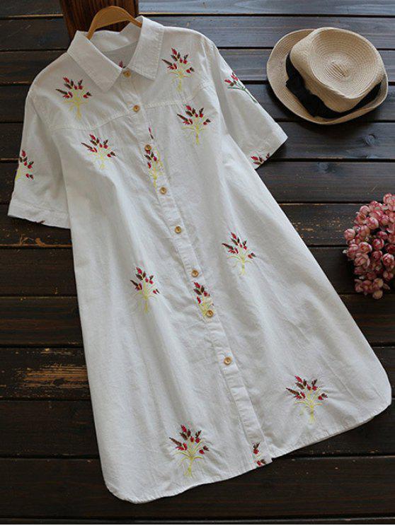 unique Embroidered Cotton Shirt Dress - WHITE M