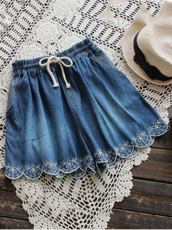 latest Elasticated Embroidered Denim Shorts - DEEP BLUE ONE SIZE