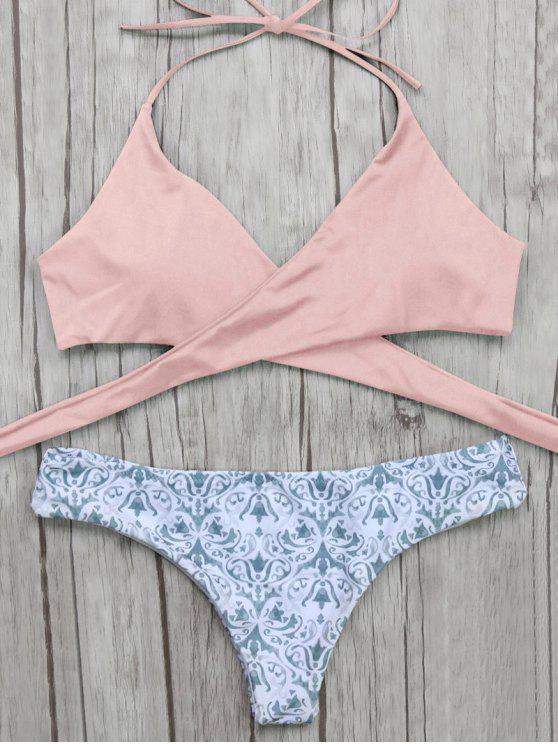 pantalon barroco y Bikini top delantero envuelto - Rosa S