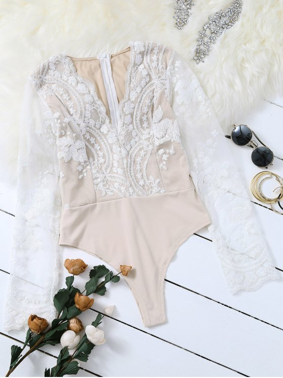women's Long Sleeve Sequins Bodysuit - WHITE M