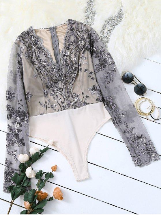 online Long Sleeve Sequins Bodysuit - GRAY M