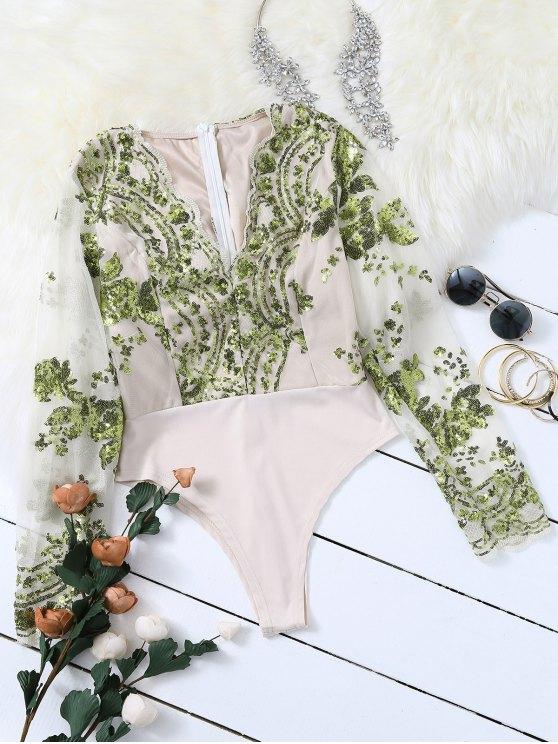 shop Long Sleeve Sequins Bodysuit - GREEN S