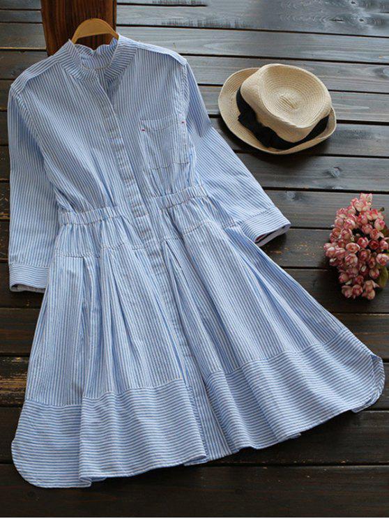 Vestido Camisero a Rayas de Lino Mezclado con Cuello Levantado - Azul y Blanco M