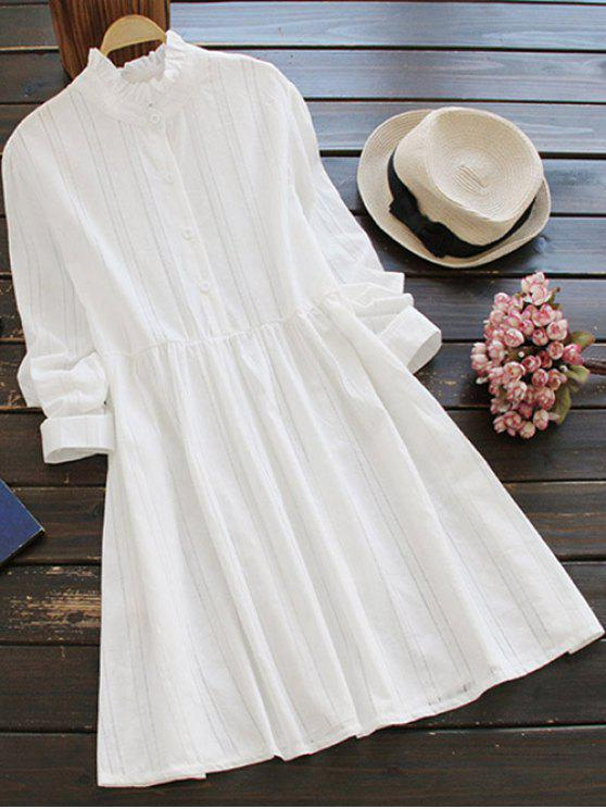buy Long Sleeve Ruffle Collar Shirt Dress - WHITE ONE SIZE