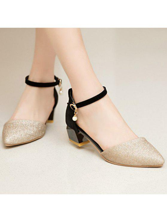 lady Glitter Two Piece Faux Pearl Pumps - GOLDEN 39