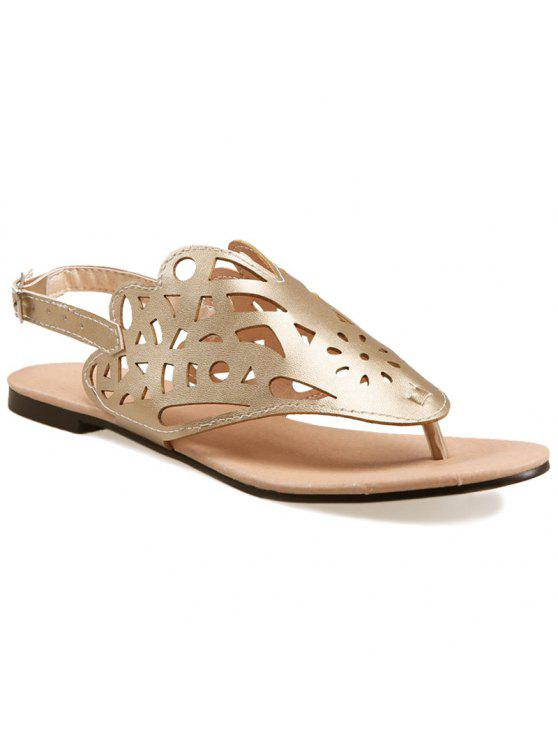 shops Hollow Out Flat Heel Sandals - GOLDEN 38