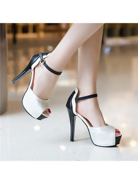 women Platform Peep Toe Sandals - WHITE 37