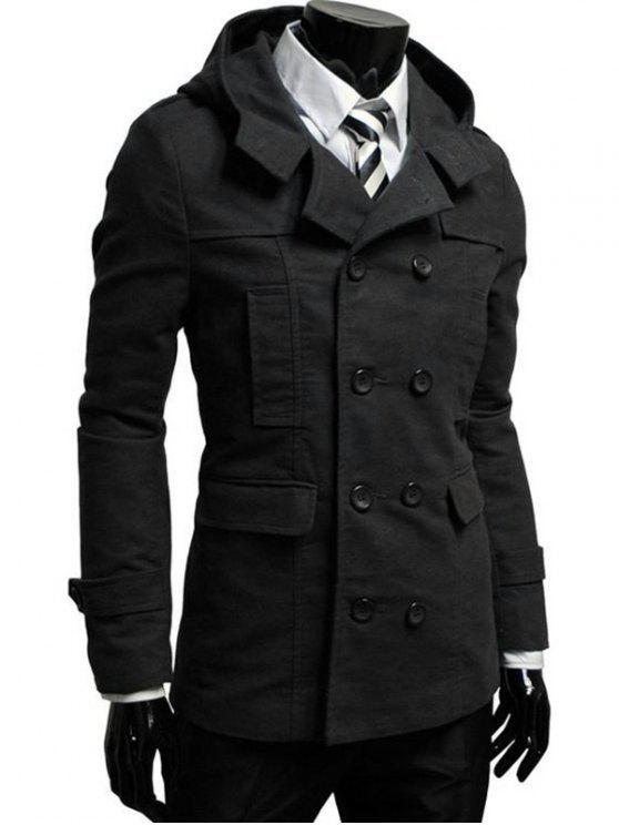 مزدوجة الصدر معطف مقنعين البازلاء - أسود 2XL