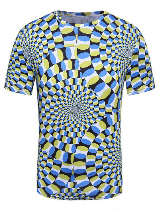 d87c34206 30% OFF] 2019 3D Spiral Print Crew Neck Trippy T-Shirt In COLORMIX ...