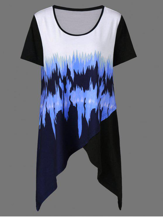 7619854f37a7e 2019 Plus Size Graphic Asymmetrical Longline T-Shirt In COLORMIX XL ...