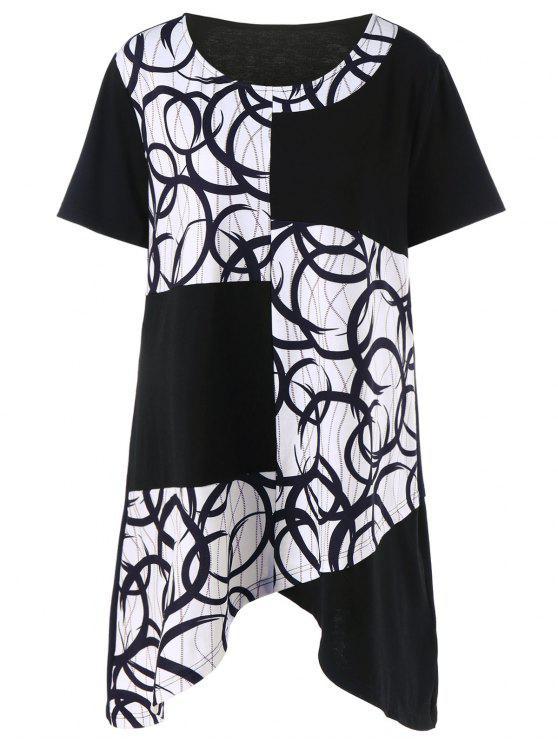 af30c96ce6ed Plus Size Asymmetrical Graphic Longline T-Shirt - White And Black Xl