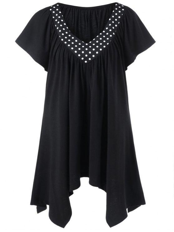 0db05b2f2280 26% OFF] 2019 Polka Dot Trim Plus Size Longline T-Shirt In BLACK   ZAFUL
