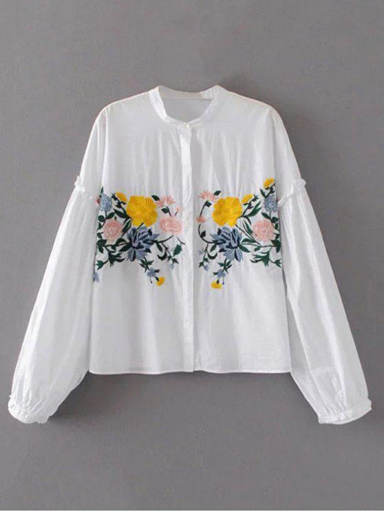 online Floral Embroidered Lantern Sleeve Shirt - WHITE M