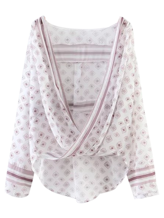 trendy Oversized Printed Blouse - WHITE L