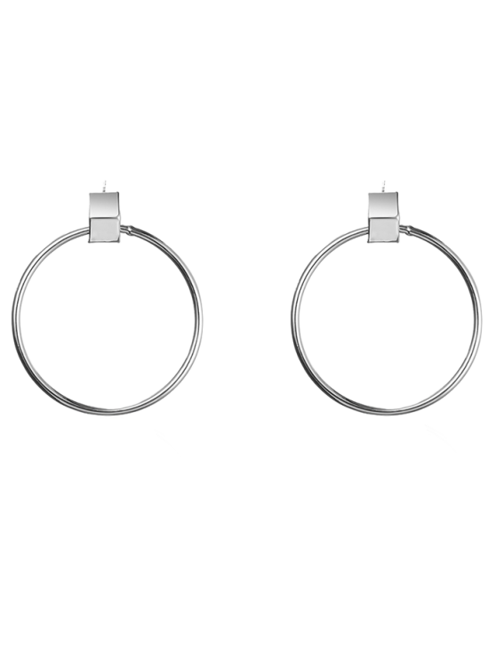 trendy Circle Hollow Out Earrings - SILVER