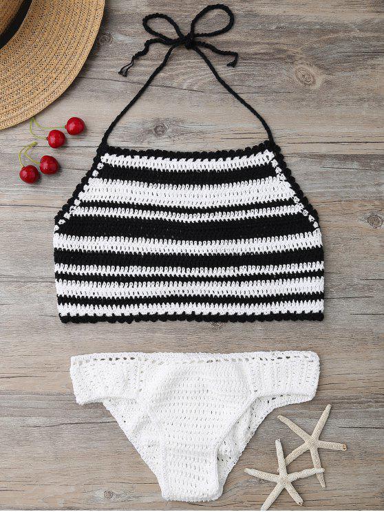 fancy High Neck Stripe Crochet Bikini Set - BLACK ONE SIZE