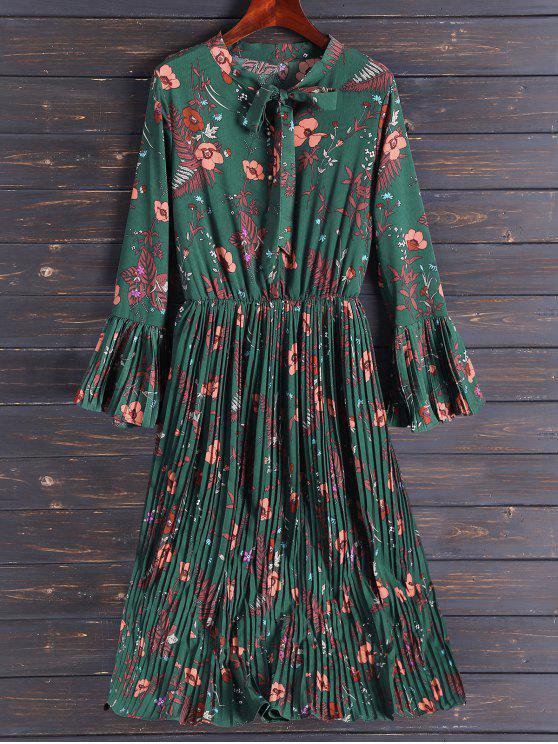 Plisada de la llamarada de la manga del vestido floral de Midi - Verde del ejército L