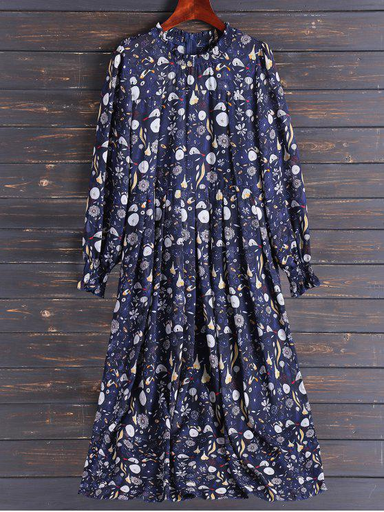 chic Bohemian Printed Chiffon Maxi Dress - COLORMIX L