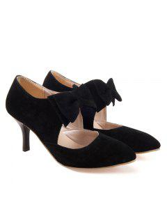 Bowknot Pointed Toe Suede Pumps - Black 39