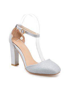 Glitter Square Toe Pumps - Silver 39