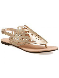 Hollow Out Flat Heel Sandals - Golden 38
