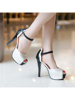 Platform Peep Toe Sandals - White 37