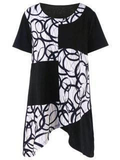 Plus Size Asymmetrical Graphic Longline T-Shirt - White And Black 2xl