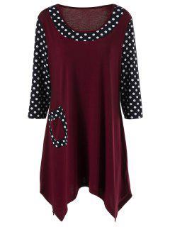 Single Pocket Polka Dot Trim Longline T-Shirt - Black And White And Red 2xl