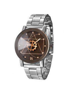 Gear Geometric Steel Band Quartz Watch - Silver And Black