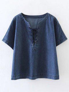 Lace-Up Denim T-Shirt - Blue M
