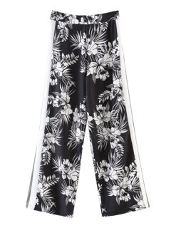 Chiffon Floral Wide Leg Pants - Black L