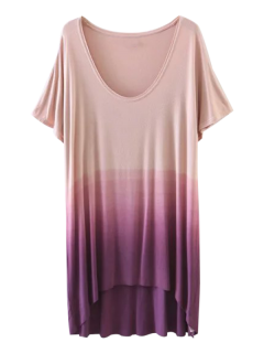 Ombre High Low T-Shirt - Purple L