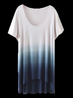T-shirt Haut-bas De Couleur Ombre - Bleu S