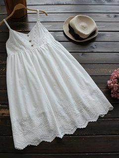 Embroidered Smock Babydoll Dress - White