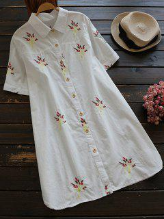 Embroidered Cotton Shirt Dress - White L