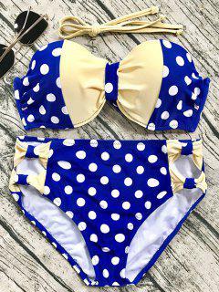 Cut Out Polka Dot Bikini Set - Blue M