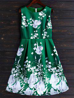 Fit Floral Y De La Llamarada Vestido A Media Pierna - Verde Claro M