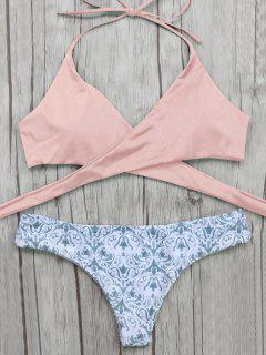 Wrap Bikini Top And Baroque Bottoms - Pink M
