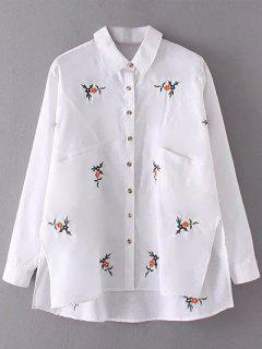 Flower Embroidered Asymmetric Linen Shirt - White S