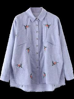 Blume Gestickte Asymmetrische Leinenhemd - Blau S
