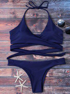 Wrap Tie Crossover Bikini - Blue S