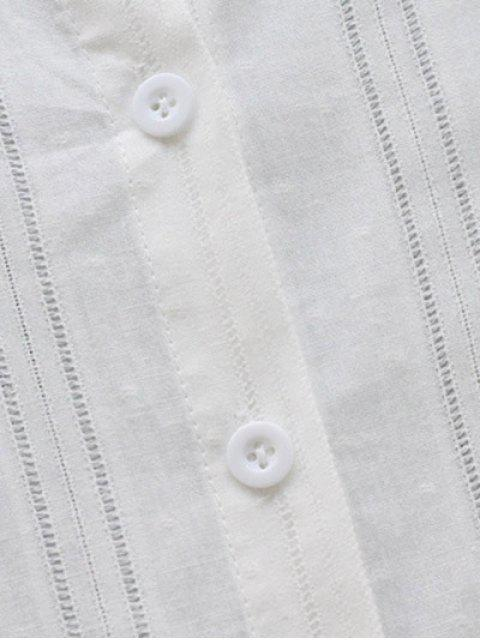 buy Long Sleeve Ruffle Collar Shirt Dress - WHITE ONE SIZE Mobile