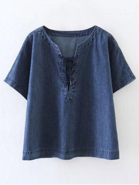 hot Lace-Up Denim T-Shirt - BLUE S Mobile