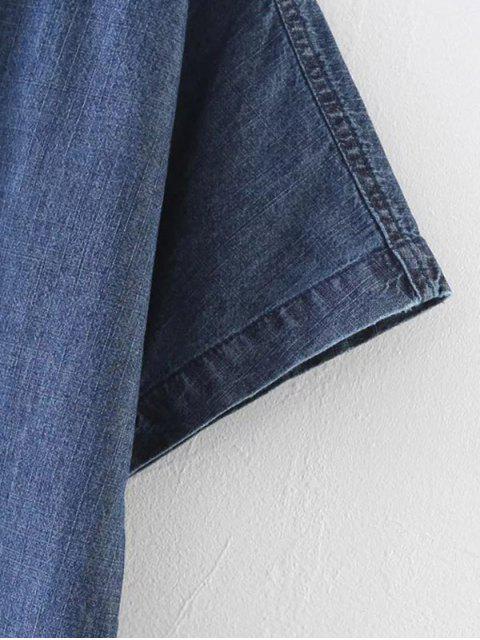 new Lace-Up Denim T-Shirt - BLUE M Mobile
