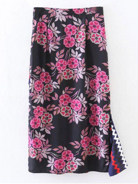 womens Asymmetric Print Slit Midi Skirt - BLACK S Mobile